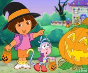 puzzel Dora en boots de aap vieren Halloween