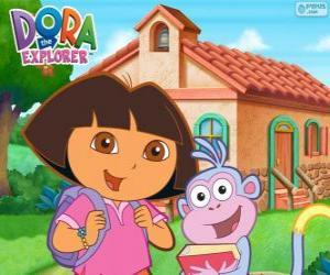 puzzel Dora en Boots gaan naar school