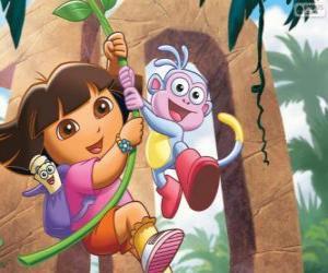 puzzel Dora en Boots in één van zijn avonturen