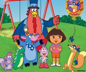 puzzel Dora met een paar vrienden