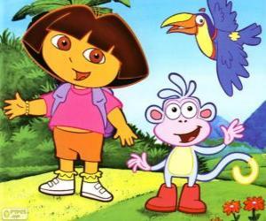 puzzel Dora the Explorer en haar aapje Boots vriend