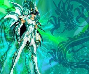 puzzel Dragon Shiryu, een van de vijf helden van Saint Seiya. De Bronze Ridder van het sterrenbeeld Draak