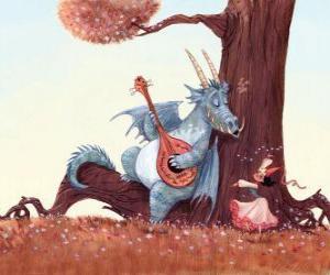 puzzel Dragon zongen een lied voor prinses