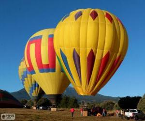 puzzel Drie ballonnen klaar om te vliegen