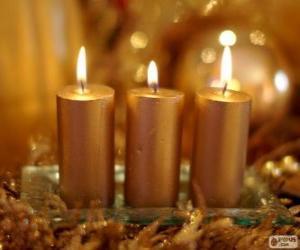 puzzel Drie gouden Kerst kaarsen