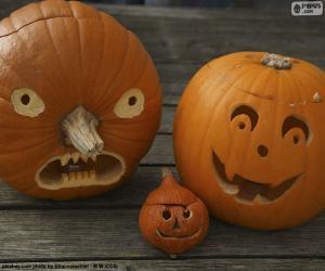 puzzel Drie Halloween pompoenen