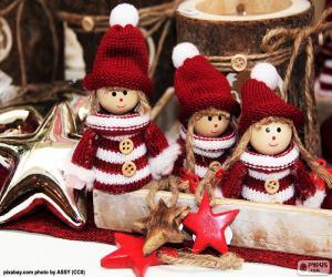 puzzel Drie kerst poppen