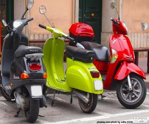 puzzel Drie motor scooter