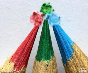 puzzel Drie potloden van kleuren