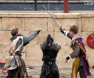 puzzel Drie ridders vechten