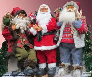 puzzel Drie Santa Claus poppen
