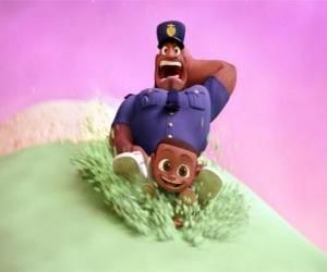 puzzel Earl Devereaux, de politieman en zijn zoon Cal op een bolletje ijs