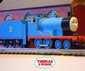 puzzel Edward, de locomotief in het blauw is de nummer 2