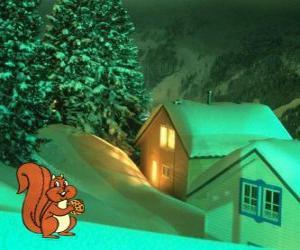 puzzel Eekhoorn eten van noten voor kerstavond