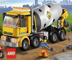 puzzel Een Beton-Mengers en een bouwvakker, Lego City