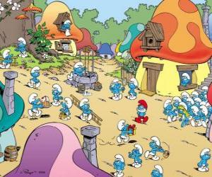 puzzel Een dag in het dorp van de Smurfen