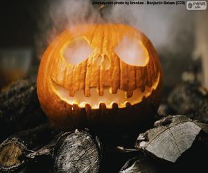 puzzel Een dampende Halloween pompoen