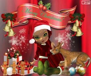 puzzel Een Elf feliciteren met Kerstmis