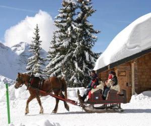 puzzel Een familie in een slee getrokken door een paard voor Kerstmis