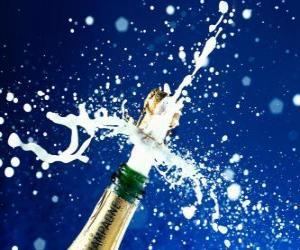 puzzel Een fles champagne te vieren het nieuwe jaar ontkurken