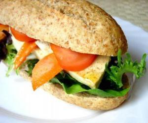 puzzel Een goede snack of sandwich met brood integraal bar met vele uiteenlopende ingrediënten