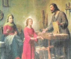 puzzel Een jonge Jezus werkzaam als timmerman met zijn vader Joseph