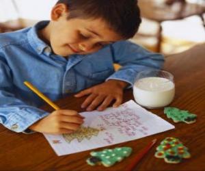 puzzel Een kind het schrijven van een brief aan de kerstman