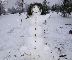 puzzel Een leuke sneeuwpop