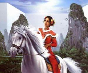 puzzel Een mooi paard rijden prinses