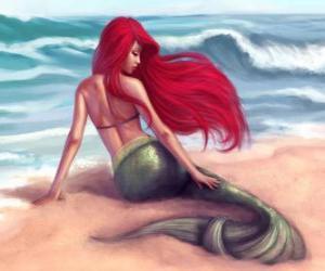 puzzel Een mooie zeemeermin op de wal