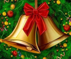 puzzel Een paar van Kerstmis klokken met een lint