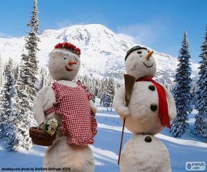 puzzel Een paar van sneeuwmannen
