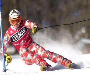 puzzel Een skiër in slalom competitie