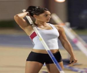 puzzel Een sporter voorbereiden op pole vault