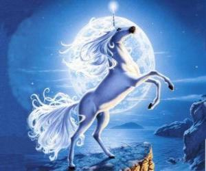 puzzel Eenhoorn - Jong paard met een hoorn spiraal