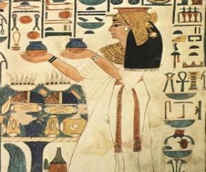 puzzel Egyptische steen gegraveerd met de afbeelding van een godin met opschriften of hiërogliefen