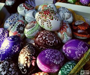 puzzel Eieren, versierd met bloemen
