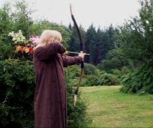puzzel Elf jager gewapend met pijl en boog klaar om te schieten