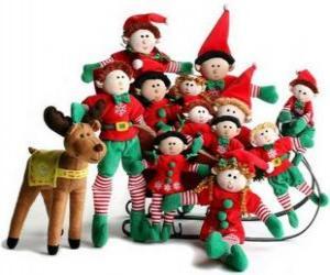 puzzel Elfen familie met zijn rendieren
