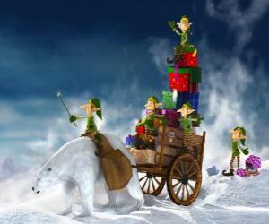 puzzel Elfen te helpen de kerstman te leveren kerstcadeaus