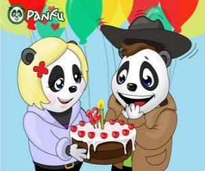 puzzel Ella brengt een taart om te vieren zijn verjaardag Max