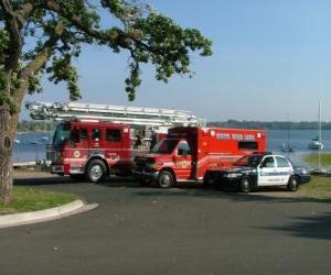 puzzel Emergency Voertuigen brandweer, ambulance en politie