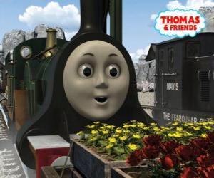puzzel Emily, de smaragdgroene locomotief is het nieuwste lid van het team van de stoomlocomotieven