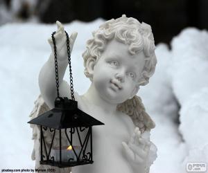 puzzel Engel met lantaarn