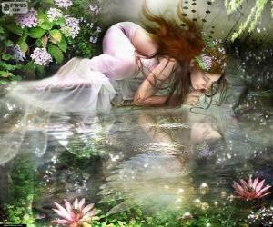 puzzel Fairy Ondina, aquatische nimfen van spectaculaire schoonheid zijn
