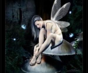puzzel Fairy zittend op een paddestoel