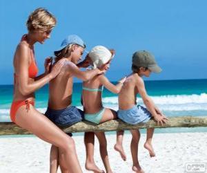 puzzel Familie de zonnebrandmiddelen toepassen