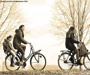 puzzel Familie fietsen