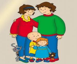 puzzel Familie Portret van Caillou, zijn zusje Rosie, zijn vader Boris, zijn moeder Doris en Gilbert de kat