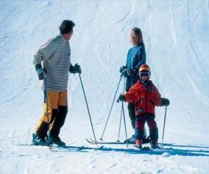 puzzel Familie skiën
